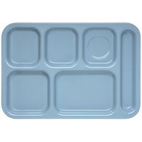 Carlisle 4398859 Slate Blue 10 inch x 14 inch Heavy Weight Melamine Right Hand 6 Compartment Tray