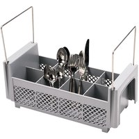 Cambro 8FB434151 Soft Gray 8 Compartment Half Size Camrack Flatware Basket with Handles