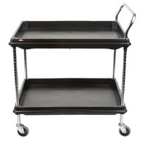 Metro BC2636-2DBL Black Utility Cart with Two Deep Ledge Shelves 38 3/4 inch x 27 inch