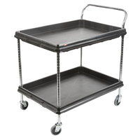 Metro BC2636-2DBL Black Utility Cart with Two Deep Ledge Shelves - 38 3/4 inch x 27 inch