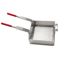 R & V Works Double 11 inch x 10 inch x 4 inch Fryer Basket with Front Hooks