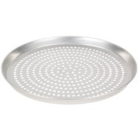 American Metalcraft SPTDEP11 11 inch x 1 inch Super Perforated Tin-Plated Steel Tapered / Nesting Deep Dish Pizza Pan