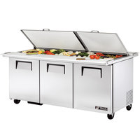 True TSSU-72-30M-B-DS-ST 72 inch Mega Top Dual Side Three Door Sandwich / Salad Prep Refrigerator