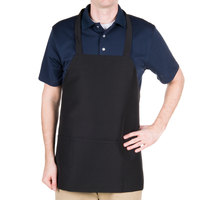 Chef Revival Black Polyester Customizable Bib Apron with 3 Pockets - 27 inchL x 24 inchW