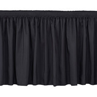 National Public Seating SS16-96 Black Shirred Stage Skirt for 96 inch Stage - 15 inch x 96 inch
