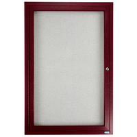 Aarco 36 inch x 24 inch Cherry Finish Lighted Bulletin Board Cabinet
