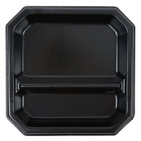 Genpak SQ29 Premium 9 inch Laminated Black Square 2 Compartment Foam Plate - 400/Case