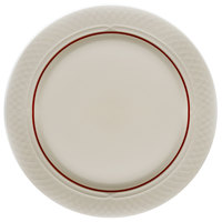 Homer Laughlin 1492-0333 Gothic Maroon Jade 10 inch Off White Mid Rim Plate - 24/Case