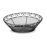 Tablecraft BK27510 Mediterranean Round Black Metal Basket - 10 inch x 3 inch