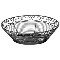 Tablecraft BK27510 Mediterranean Round Black Metal Basket - 10 inch x 3 inch
