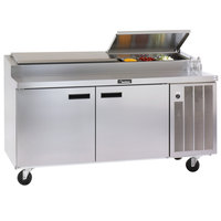Delfield 18672PTLV 72 inch Two Door Refrigerated Pizza Prep Table with LiquiTec Raised Rail