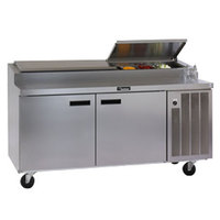 Delfield 18672PTL 72 inch Two Door Refrigerated Pizza Prep Table with LiquiTec Raised Rail