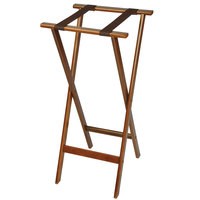 CSL 1178-1 Back Saver 38 inch Dark Walnut Extra Tall Wood Tray Stand with Brown Straps