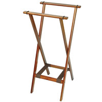 CSL 1178BSO Back Saver 38 inch Dark Walnut Extra Tall Wood Tray Stand with Brown Bottom Straps - 5/Pack