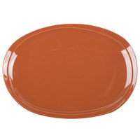Syracuse China 922229727 Terracotta 13 1/2 inch x 9 3/4 inch Coupe Oval Platter - 6/Case