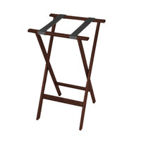CSL 1170MAH Deluxe 30 inch Mahogany Wood Tray Stand with Black Straps - 4/Pack