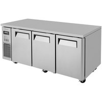 Turbo Air JUR-72 J Series 72 inch Solid Door Undercounter Refrigerator with Side Mounted Compressor