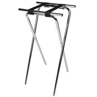 CSL 1036 Back Saver 36 inch Chrome Extra Tall Steel Tray Stand with Black Straps - 6/Pack