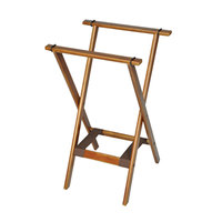 CSL 1170BSO Deluxe 30 inch Dark Walnut Wood Tray Stand with Brown Bottom Straps - 4/Pack