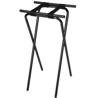 CSL 1036BL-1 Back Saver 36 inch Black Extra Tall Steel Tray Stand with Black Straps