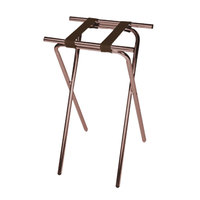 CSL 1053WA-1 Deluxe 31 inch Walnut Steel Tray Stand with Brown Straps
