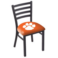 Holland Bar Stool L00418ClmsonC Black Steel Clemson University Chair with Ladder Back and Padded Seat