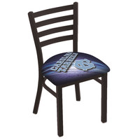 Holland Bar Stool L00418NorCar-D2 Black Steel University of North Carolina Chair with Ladder Back and Padded Seat