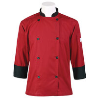 Mercer Air Unisex 48 inch 1X Red Double Breasted 3/4 Length Sleeve Cook Jacket with Traditional Buttons