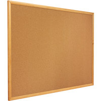 Quartet 307 72 inch x 48 inch Cork Board with Oak Finish Frame