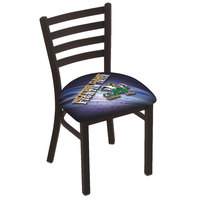 Holland Bar Stool L00418ND-Lep-D2 Black Steel University of Notre Dame Chair with Ladder Back and Padded Seat