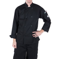 Mercer Culinary M60010BKL Millennia Unisex 44 inch L Customizable Black Double Breasted Long Sleeve Cook Jacket with Traditional Buttons
