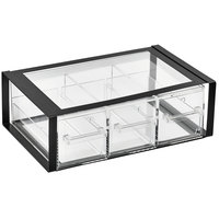 Vollrath SBB33F-06 Cubic Full Size Three Drawer Acrylic Bread Box with Black Frame, Reusable Chalkboard Labels, and Chalk