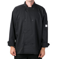 Mercer Air Unisex 44 inch L Black Double Breasted Long Sleeve Cook Jacket with Traditional Buttons with Full Mesh Back
