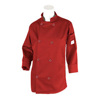 Mercer M60020RDM Women's 36 inch M Red Double Breasted Long Sleeve Cook Jacked with Traditional Buttons