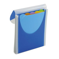 Wilson Jones WLJ68583 Letter Size 5-Pocket Vertical File Organizer - Colored Tabs, Flap and Cord Closure, Dark Blue
