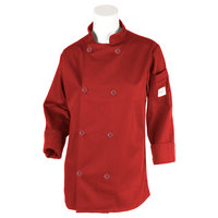 Mercer M60020RDXXS Millennia Women's 31 inch XXS Customizable Red Double Breasted Long Sleeve Cook Jacket with Traditional Buttons