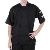 Mercer Culinary Millennia Unisex 40 inch M Customizable Black Double Breasted Short Sleeve Cook Jacket with Cloth Knot Buttons