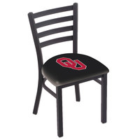Holland Bar Stool L00418Oklhma Black Steel University of Oklahoma Chair with Ladder Back and Padded Seat