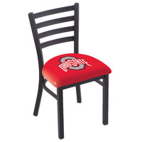 Holland Bar Stool L00418OhioSt Black Steel Ohio State University Chair with Ladder Back and Padded Seat