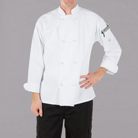Mercer Culinary M60012WHXS Millennia Unisex 32 inch XS Customizable White Double Breasted Long Sleeve Cook Jacket with Cloth Knot Buttons