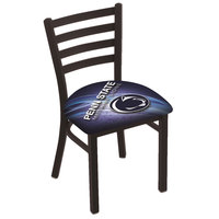 Holland Bar Stool L00418PennSt-D2 Black Steel Penn State University Chair with Ladder Back and Padded Seat