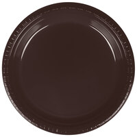 Creative Converting 28303821 9 inch Chocolate Brown Plastic Dinner Plate - 240 / Case