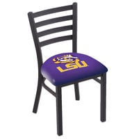 Holland Bar Stool L00418LaStUn Black Steel Louisiana State University Chair with Ladder Back and Padded Seat