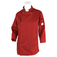 Mercer M60020RDXS Millennia Women's 32 inch XS Red Double Breasted Long Sleeve Cook Jacket with Traditional Buttons