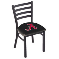 Holland Bar Stool L00418AL-A Black Steel University of Alabama Chair with Ladder Back and Padded Seat
