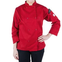 Mercer Culinary M60020RD1X Millennia Women's 41 inch 1X Customizable Red Double Breasted Long Sleeve Cook Jacket with Traditional Buttons