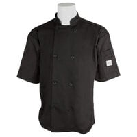 Mercer Air Unisex 64 inch 5X Black Double Breasted Short Sleeve Cook Jacket with Traditional Buttons with Full Mesh Back