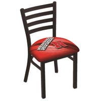 Holland Bar Stool L00418NebrUn-D2 Black Steel University of Nebraska Chair with Ladder Back and Padded Seat