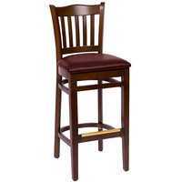 BFM Seating LWB7218WABUV Princeton Walnut Beechwood School House Bar Height Chair with 2 inch Burgundy Vinyl Seat