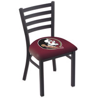 Holland Bar Stool L00418FSU-HD Black Steel Florida State University Chair with Ladder Back and Padded Seat